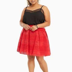 Torrid Racing Red Striped Elastic Full Skirt 3X